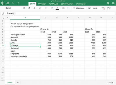 2.Office-voor-iPad-excel